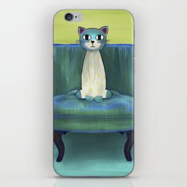 Elegant Cat green iPhone Skin