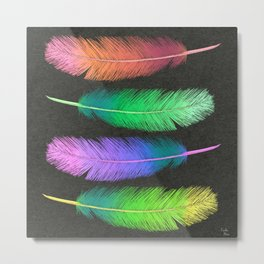 Colorful Pastel Ombré Feather Art Metal Print