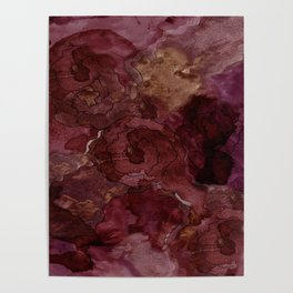 Rose, Burgundy and Merlot Watercolor Flowers Poster