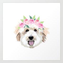Golden Doodle dog - dog portrait, dog face, golden doodle, doodle dog, dog, dogs, dog fabric Art Print