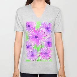 Purple Abstract Floral - Watercolor and Color Enhanced Digital Art Unisex V-Neck