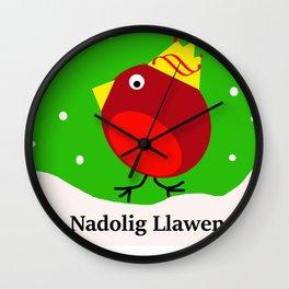nadolig llawen Merry Christmas robin Wall Clock
