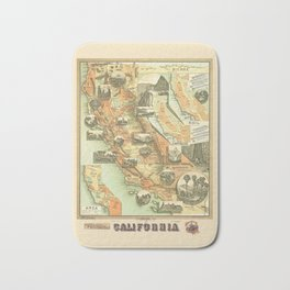 The Unique Map of California Vintage Illustration by Johnstone E. McD. 1888 with Modern Artsy Design Bath Mat