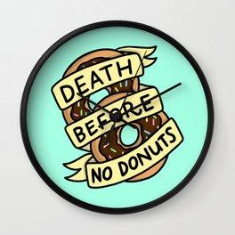 Death Before No Donuts Wall Clock