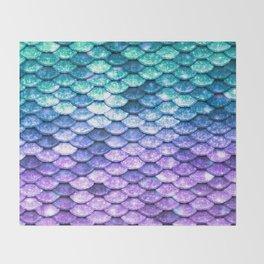 Mermaid Ombre Sparkle Teal Blue Purple Throw Blanket