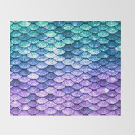 Mermaid Ombre Sparkle Teal Blue Purple Throw Blanket