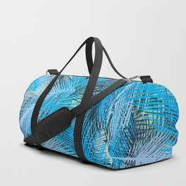 Jungle pampa blue forest. Tropical fresh forest pattern with palms Duffle Bag