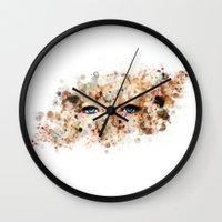 jennifer lawrence Wall Clocks featuring Eyes (Jennifer Lawrence) by Rene Alberto