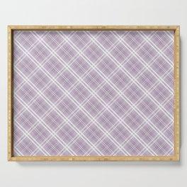 Dark Chalky Pastel Purple and White Tartan Plaid Check Serving Tray