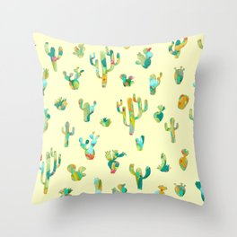 Cactus colorful pattern Throw Pillow