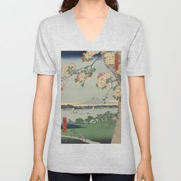 Cherry Blossoms on Spring River Ukiyo-e Japanese Art Unisex V-Neck