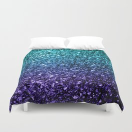 Beautiful Aqua blue Ombre glitter sparkles Duvet Cover