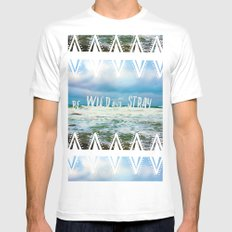 Be Wild and Stray. MEDIUM White Mens Fitted Tee