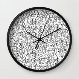 Elio's Shirt Faces in Black Outlines on White Wall Clock