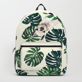 Sneaky Llama with Monstera Backpack