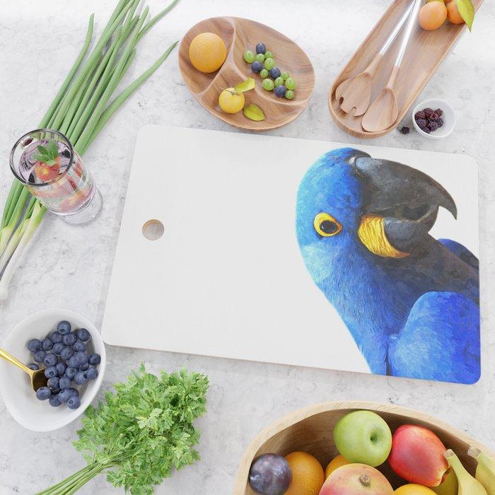 Blue Parrot Portrait Cutting Board