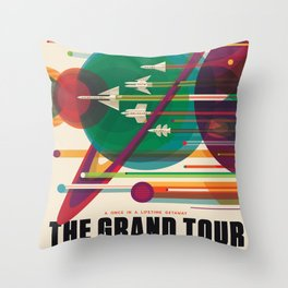 Retro Space Poster - The Grand Tour Throw Pillow