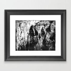 monotype of tall grasses in wind Framed Art Print