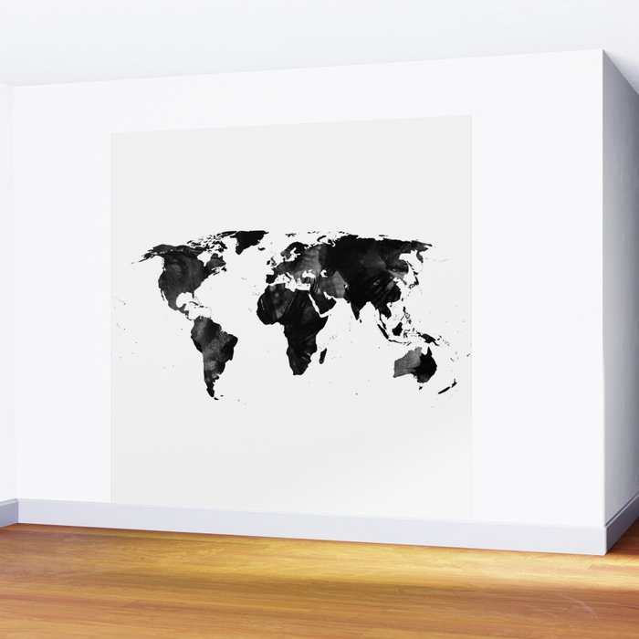 Black watercolor world map wall mural by ummuhanuslu society6 black watercolor world map wall mural gumiabroncs Images