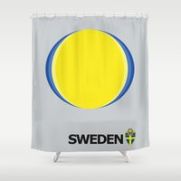 sweden Shower Curtains featuring Sweden National Team by Earl of Grey