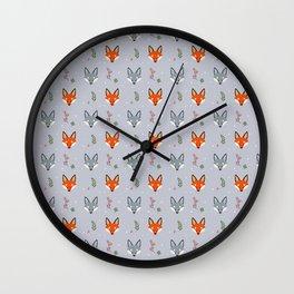 Cute Fox Pattern - Earl Grey Wall Clock