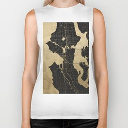 Seattle Black and Gold Map Biker Tank