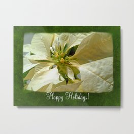 Pale Yellow Poinsettia 1 Happy Holidays P1F1 Metal Print