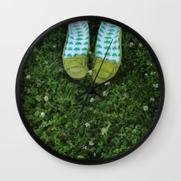 Shamrock Socks in a Green Clover Field Wall Clock