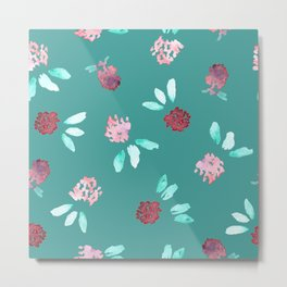 Clover Flowers Pattern on Mint Green Metal Print