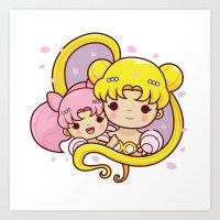 sailormoon Art Prints featuring Sailor Moon Princesses by Azul Piñeiro