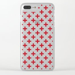 Criss Cross   Plus Sign   Red and White Clear iPhone Case
