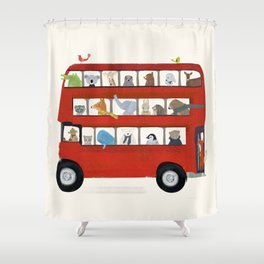 the big little red bus Shower Curtain