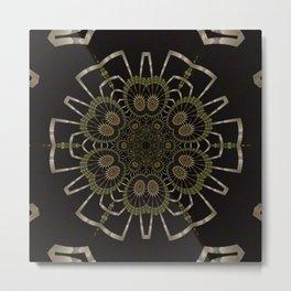 Offspring Fractal Black Mandala Metal Print