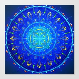 Blue mandala painting on canvas Canvas Print