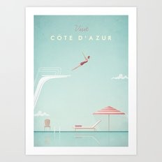 Vintage Côte d'Azur Travel Poster  Art Print
