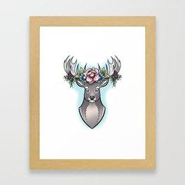 Floral Stag Framed Art Print