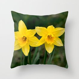 Two daffodils in spring Throw Pillow