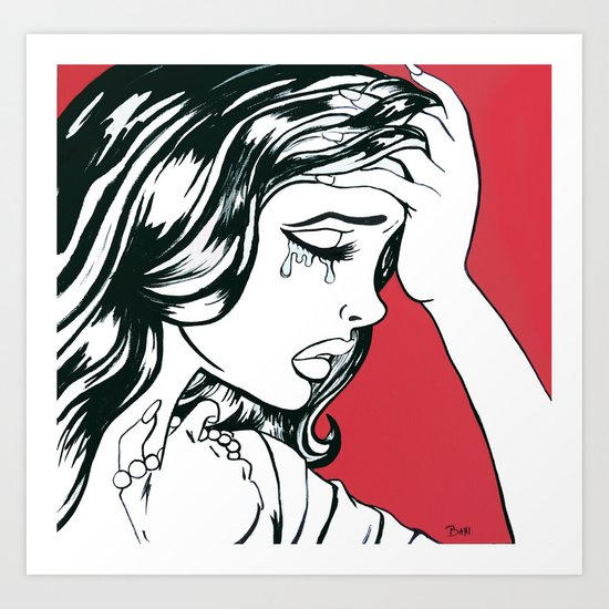 Crying Red Vintage Comic Book Painting  Art Print