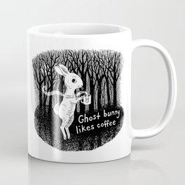 Ghost bunny likes coffee Coffee Mug
