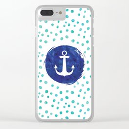 Watercolor Ship's Anchor Clear iPhone Case