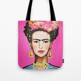 Pink Glow Frida Tote Bag