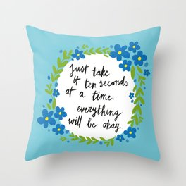 Ten Seconds - Blue Throw Pillow
