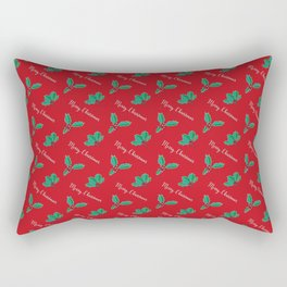 Holy Berry Merry Christmas on Red Rectangular Pillow