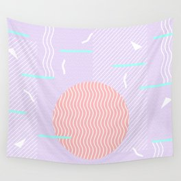 Memphis Summer Lavender Waves Wall Tapestry