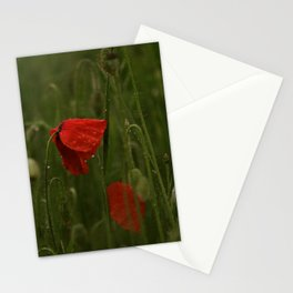 Red Poppies at Dusk Stationery Cards
