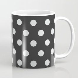 Dark Slate Grey Thalertupfen White Pōlka Large Round Dots Pattern Coffee Mug