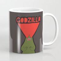godzilla Mugs featuring Godzilla by evannave