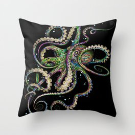 Octopsychedelia (black) Throw Pillow
