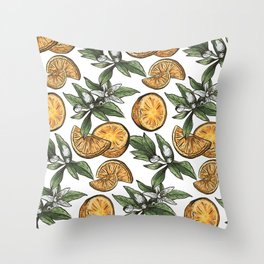 Hand Drawn Orange Fruit Pattern Throw Pillow