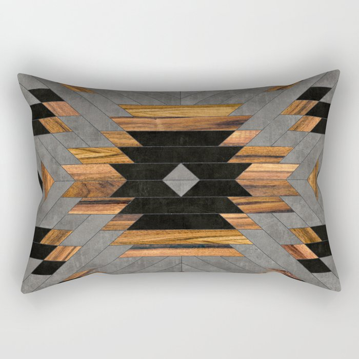 Urban Tribal Pattern No.6 - Aztec - Concrete and Wood Rectangular Pillow